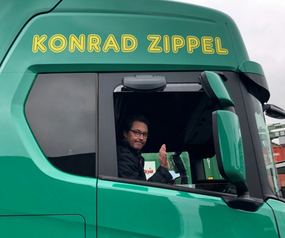 'Test drive to Berlin's Federal Chancellery with the LUIS turn assistant installed in a CNG Scania truck,' source: LUIS Technology